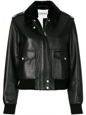 Кожаная куртка-авиатор Loewe. Цвет: чёрный