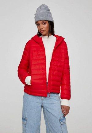 Куртка утепленная Pull&Bear. Цвет: красный