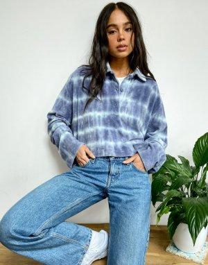 Рубашка поло из органического хлопка с голубым принтом тай-дай Kalani-Зеленый цвет Weekday