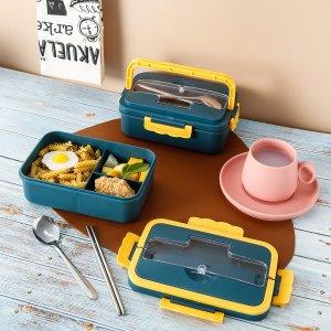 1шт Контейнер для ланча & ложка 1 пара палочки еды SHEIN. Цвет: синий