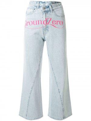 Укороченные джинсы с завышенной талией Ground Zero. Цвет: синий