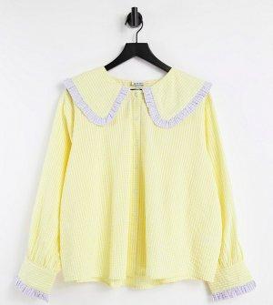 Свободная рубашка в клетку с большим воротником -Желтый Neon Rose Plus