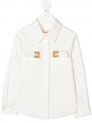 Рубашка с длинными рукавами и бахромой Elisabetta Franchi La Mia Bambina. Цвет: белый