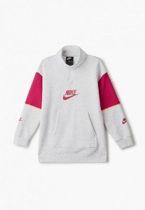 Платье Nike G NSW FLC CB HZ PO. Цвет: серый