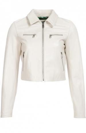 Укороченная кожаная куртка с декоративными молниями Dolce & Gabbana. Цвет: белый