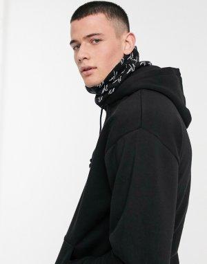 Черный худи с шарфом-снудом логотипом NLM от New Look
