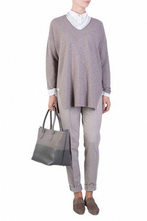 Серый пуловер с разрезами по бокам Fabiana Filippi