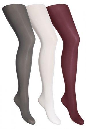 Колготки yula. Цвет: белый, серый, бордовый