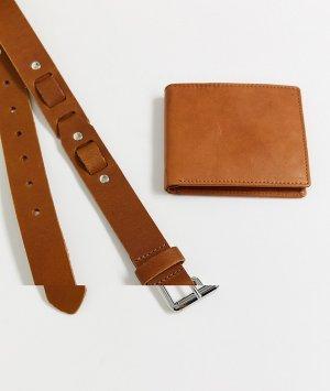 Коричневый ремень и бумажник Topman