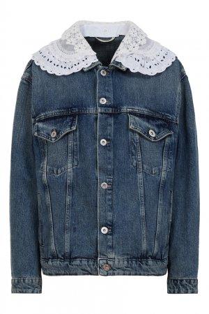 Джинсовая куртка с кружевным воротником Miu. Цвет: синий