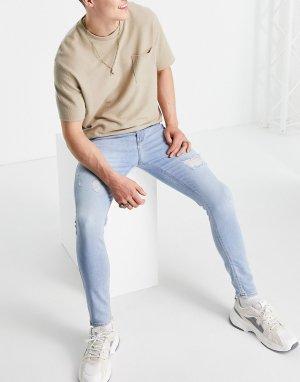 Голубые выбеленные эластичные джинсы облегающего кроя с рваной отделкой, изготовленные уменьшенным количеством воды -Голубой ASOS DESIGN