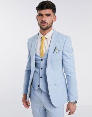 Однотонный пиджак скинни -Голубой Harry Brown