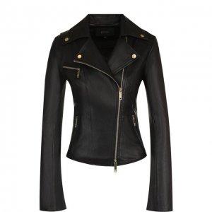 Приталенная кожаная куртка с косой молнией Jitrois. Цвет: чёрный