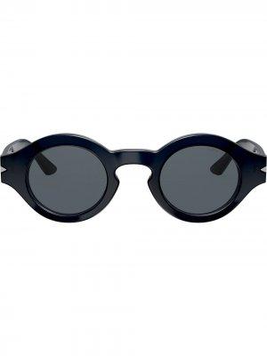 Солнцезащитные очки в круглой оправе Giorgio Armani. Цвет: синий