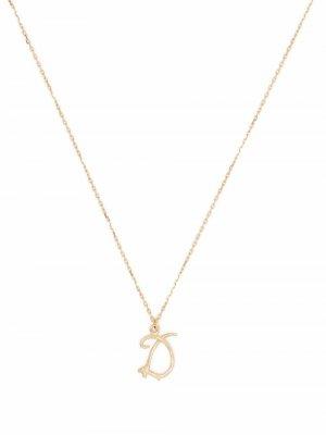 Колье Enchanted Twig Alphabet D из желтого золота Alex Monroe. Цвет: золотистый