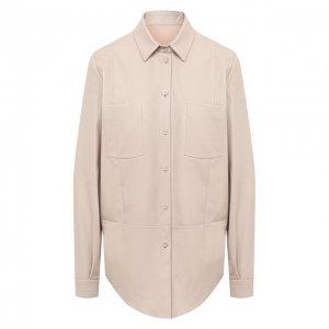 Кожаная рубашка DROMe. Цвет: бежевый