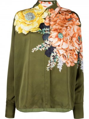 Рубашка с цветочным принтом Jason Wu Collection. Цвет: зеленый
