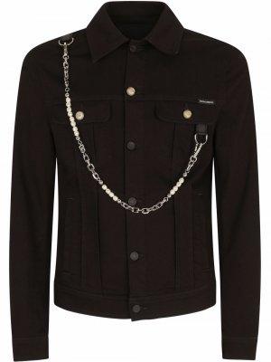 Джинсовая куртка с цепочкой Dolce & Gabbana. Цвет: черный
