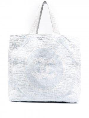 Пляжная сумка с логотипом CC Chanel Pre-Owned. Цвет: синий
