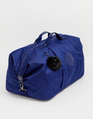 Синяя большая сумка с черной пушистой подвеской -Синий Kipling