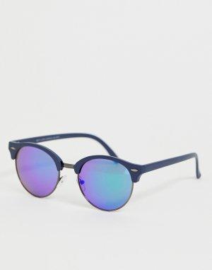Серебристые круглые солнцезащитные очки с синими стеклами -Синий New Look