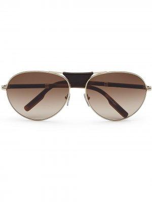 Солнцезащитные очки-авиаторы Ermenegildo Zegna. Цвет: коричневый