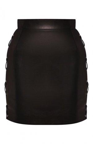 Кожаная юбка Versace. Цвет: черный