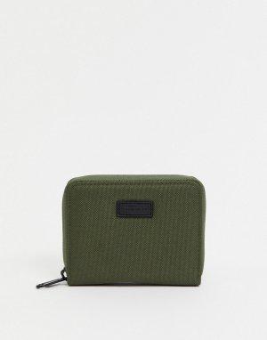 Бумажник с молнией по периметру -Зеленый цвет Consigned