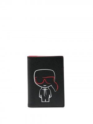 Обложка для паспорта K/Ikonik Karl Lagerfeld. Цвет: черный