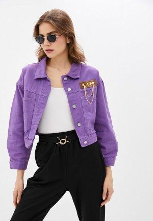 Куртка джинсовая Miss Gabby. Цвет: фиолетовый
