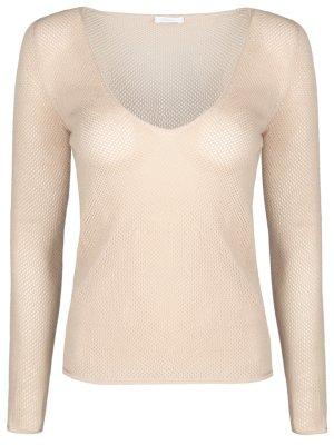Пуловер вязки кроше из кашемира Malo. Цвет: бежевый
