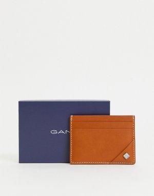 Светло-коричневая кожаная кредитница с маленьким логотипом -Коричневый цвет Gant