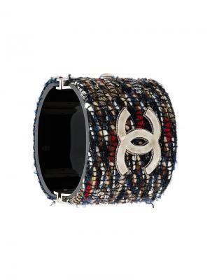 Твидовый браслет CC Chanel Pre-Owned. Цвет: разноцветный