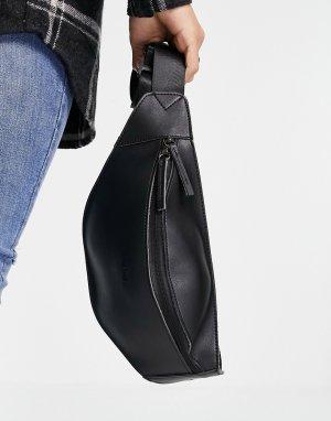 Сумка-кошелек на пояс из искусственной кожи молнии -Черный цвет Fenton