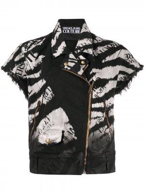 Джинсовая куртка с логотипом Versace Jeans Couture. Цвет: черный