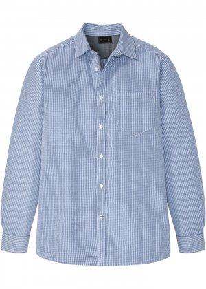 Рубашка из материала сирсакер bonprix. Цвет: синий