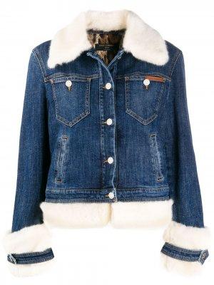 Джинсовая куртка с искусственным мехом Dolce & Gabbana. Цвет: синий