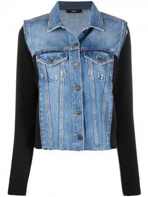 Джинсовая куртка со вставками Diesel. Цвет: черный