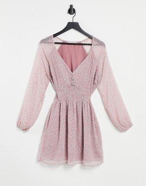 Розовое платье с пышными рукавами и цветочным принтом -Розовый цвет Abercrombie & Fitch