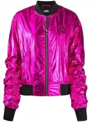 Бомбер Ikonik с эффектом металлик Karl Lagerfeld. Цвет: розовый