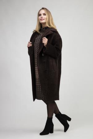 Женское пальто из альпака с большим английским воротником Elisabetta. Цвет: шоколад