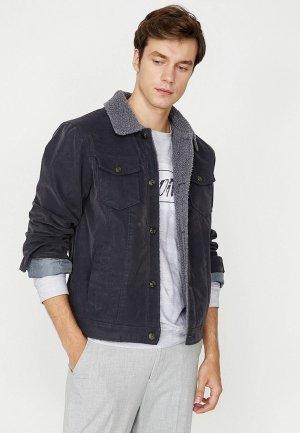 Куртка кожаная Koton. Цвет: серый