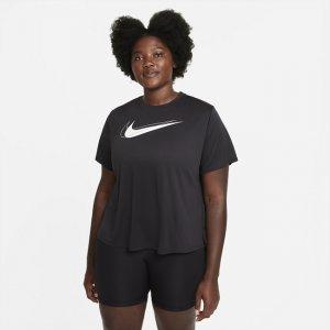 Женская беговая футболка Dri-FIT Swoosh Run (большие размеры) - Черный Nike