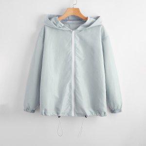 Куртка-ветровка на кулиске с молнией SHEIN. Цвет: светло-серый