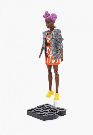 Кукла Barbie BMR1959, темнокожая в оранжевом платье и сером пиджаке, 28 см. Цвет: разноцветный
