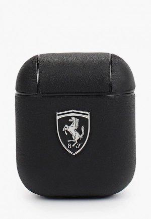 Чехол для наушников Ferrari Airpods, Off-Track Genuine leather with metal logo Black. Цвет: черный