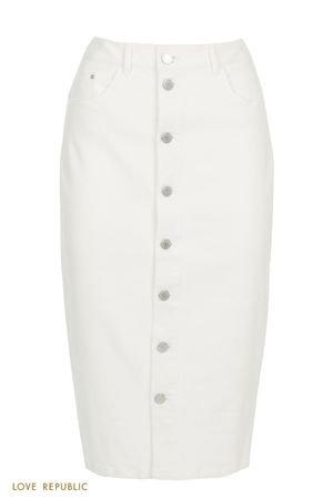 Джинсовая белая юбка миди с рядом пуговиц LOVE REPUBLIC