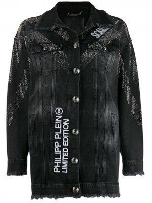 Джинсовая куртка Scarface Philipp Plein. Цвет: черный