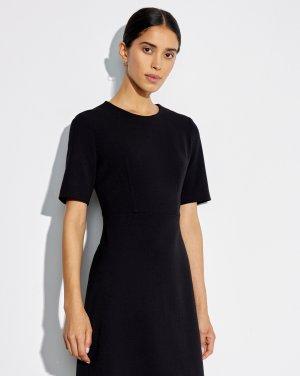 Платье приталенное с коротким рукавом 12STOREEZ. Цвет: черный