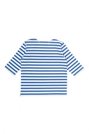 Полосатый хлопковый пуловер Bonpoint. Цвет: синий